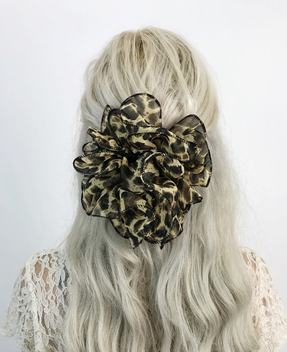 90's Giant Leopard Print Bow Claw Clip Nude Champagne Brown Black Vintage Hair Clip - Big Bow Barrette Statement Hair Clip Bow Big Accessory