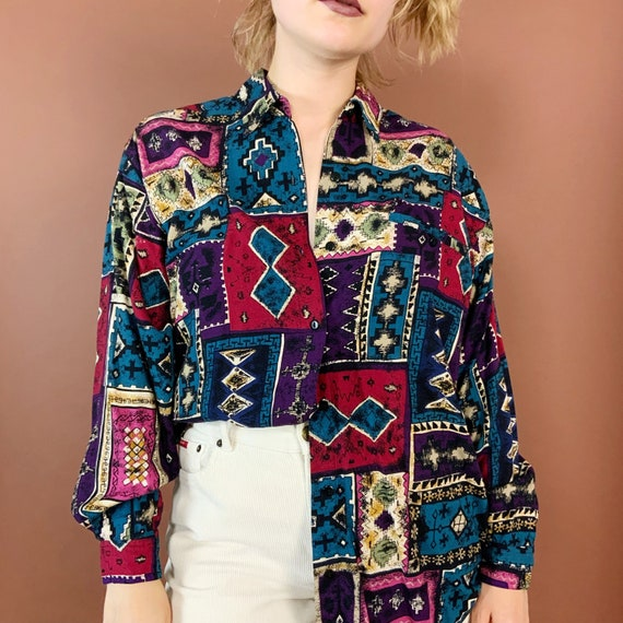 90's Allover Print Colorful Button Up Long Sleeve Medium - VTG Nineties Slouchy Casual Womens Abstract Button Front Rayon Blouse w/ Collar