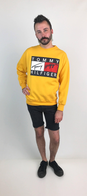 90's Tommy Hilfiger Logo Sweatshirt Small Medium Yellow