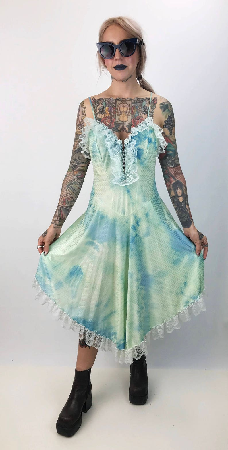 21ad465fce9 Vintage Blue Green Tie Dye Dress Medium 80 s Ruffle Lace