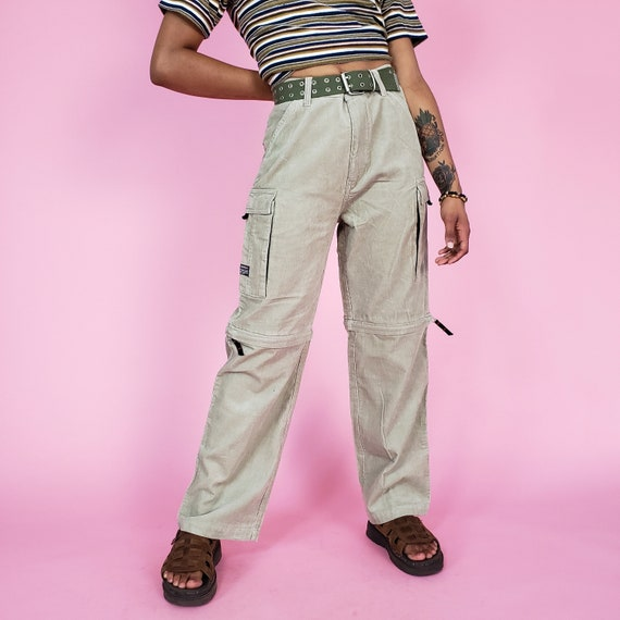 y2k Vintage Baggy Corduroy Wide Leg Pants Small - Khaki Cargo Zip-Off Pants Shorts - 2000s Retro Oversized Cargo Pocket Pant Zips Off Shorts