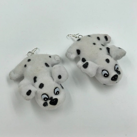 Pound Puppy CUTE Plush Earrings - Giant Statement Dangle Puppy Dog Earrings - VTG Recycled Fun Weird Costume Kawaii Cute Plush Dog Jewelry