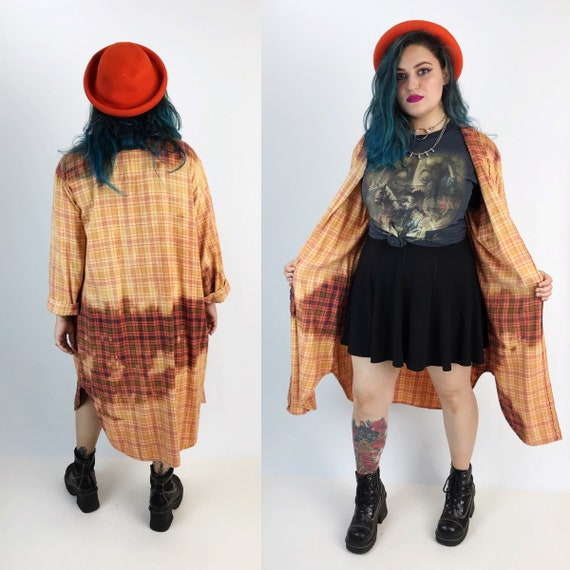 90's Long Open Front Flannel Shirt Layer Large Unisex - Tie Dye Grunge Baggy Orange Red Brown Tie Dye Bleached Unique Remade Fall Flannel