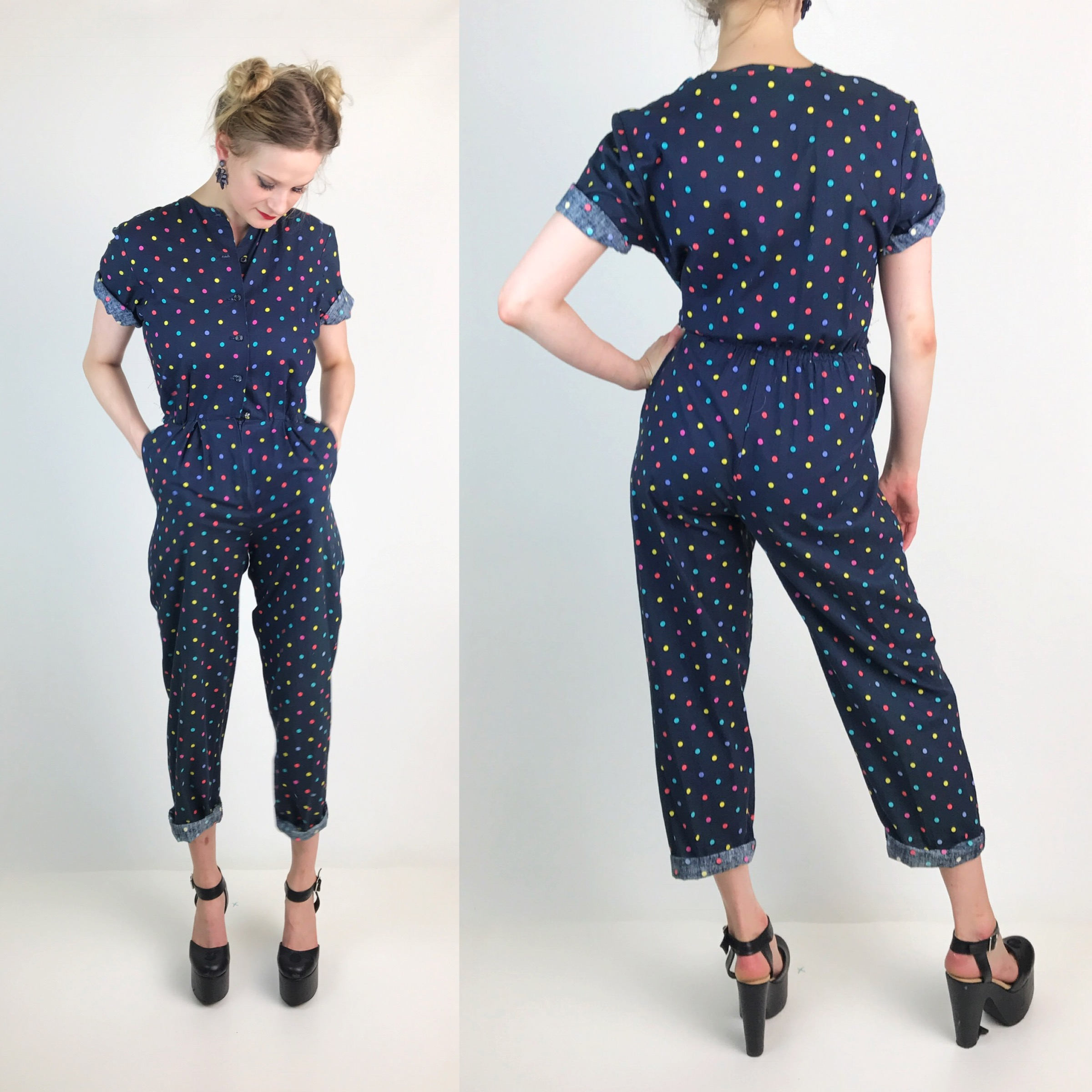 7706fcc00424 80 s Polka Dot Rainbow Printed Jumper Pants Suit Small 4 6 - Navy ...