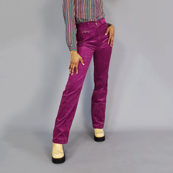 80s Vintage Fuchsia Pink Corduroy Pants - Small Vtg Flared Pant - 1980s High Waisted Boot Cut Pants - size 6 Highwaisted Flare Pants