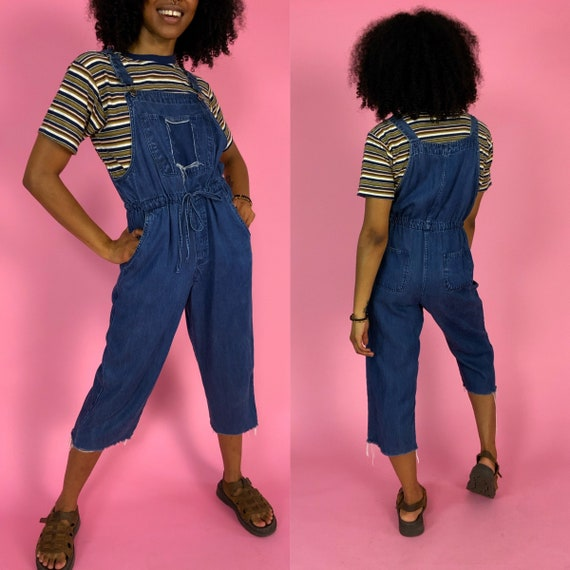90's Vintage Denim Jean Jumper Overalls Womens Medium- Slouchy Frayed Capri Cropped Dark Blue Jean Overalls - 90s Remade Grunge Denim Jumper