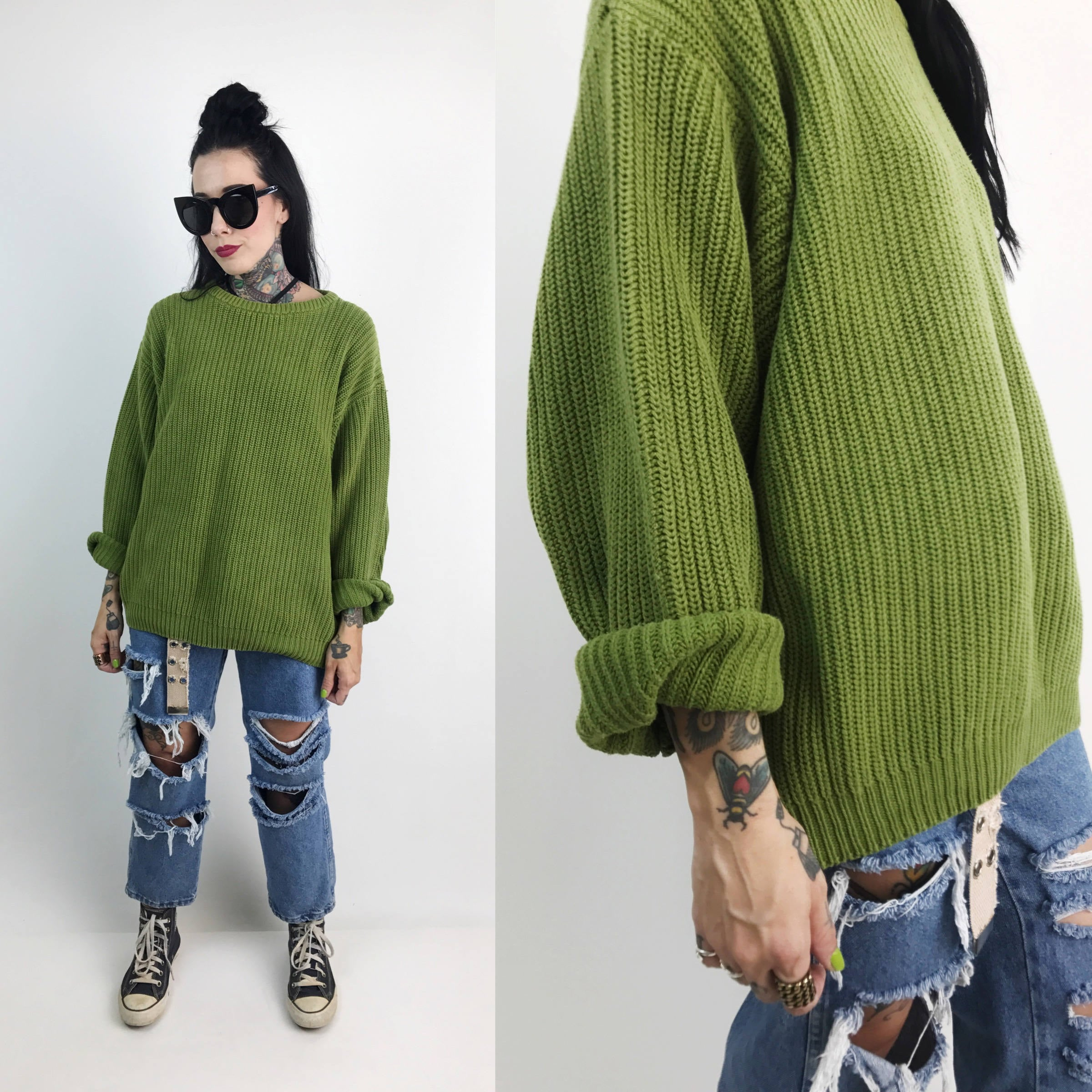 90s Ribbed Crew Neck Slouchy Oversized Knit Sweater Xl Pea Green
