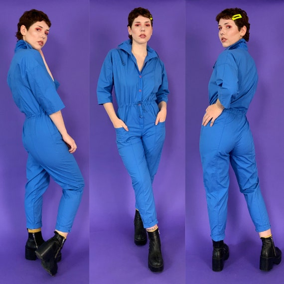 90's Deadstock Blue Pants Jumpsuit Womens 6/8 - Vintage Basic Cotton One Piece Tapered Leg Pants Coveralls Jumper w/ High Collar/Pockets -