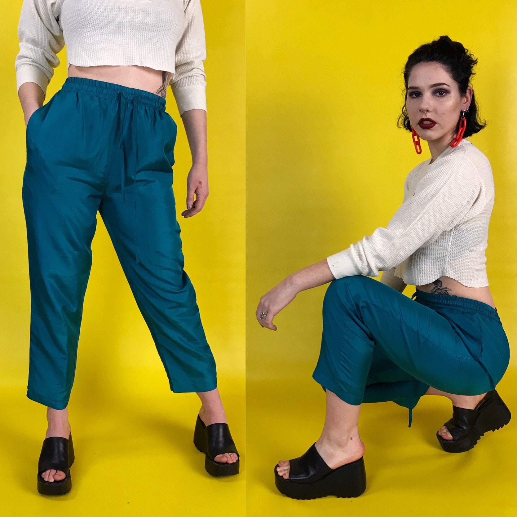 90 S High Waist Teal Silk Trousers Womens Small 4 6