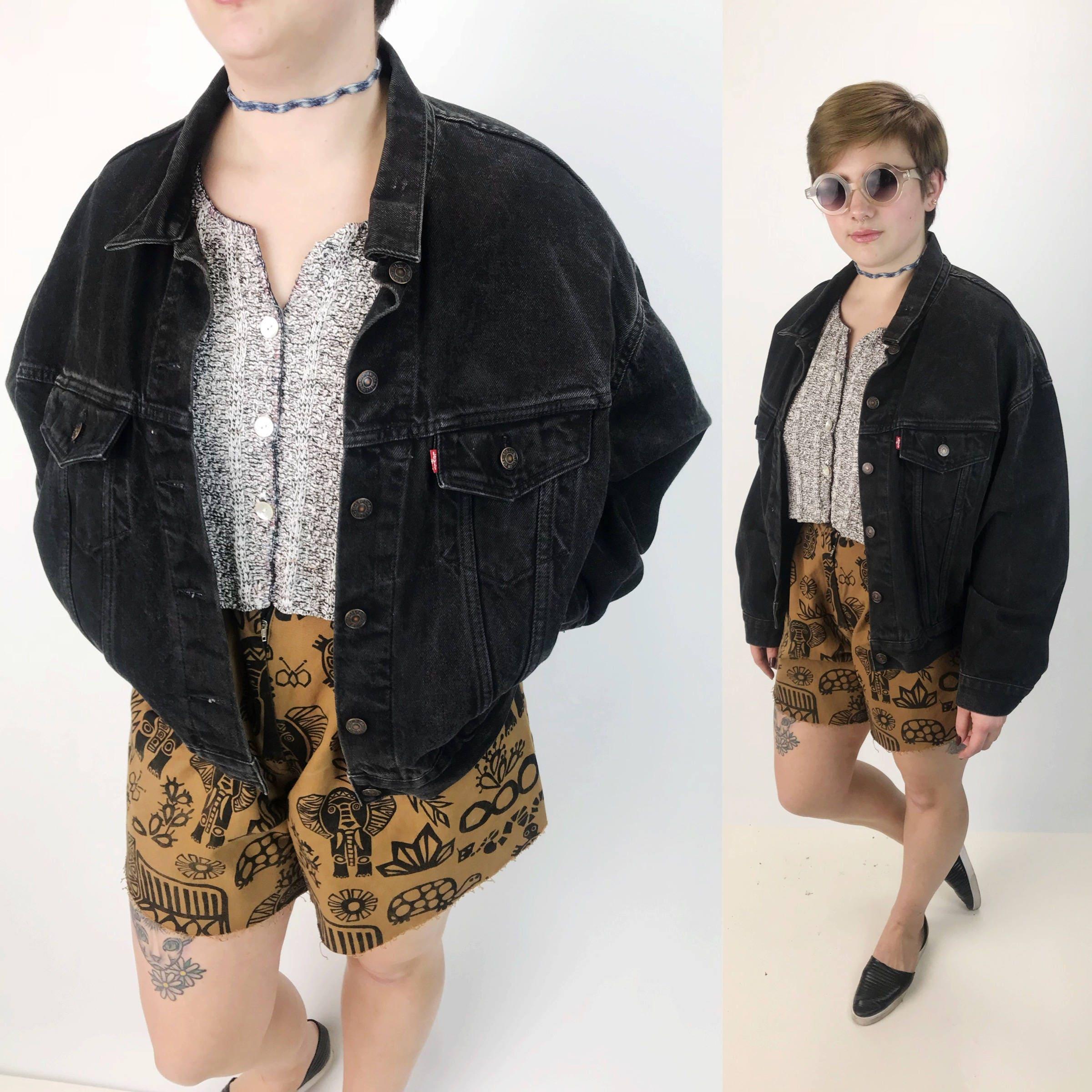 90s Vintage Women/'s Black Slouchy Blazer