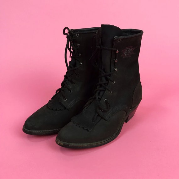 Vintage Black Leather Lace Up Justin-Style Boots Size US 7 - Matte Black Witchy Pointy Toe Heeled Leather Southwestern Embroidered Boots