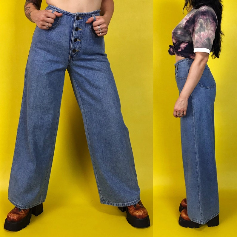 90/'s High Waisted Wide Leg Jeans Size Small 27 Baggy High Rise Jeans Blue Denim Button Front High Waisted Boho Hippie Everyday Pants