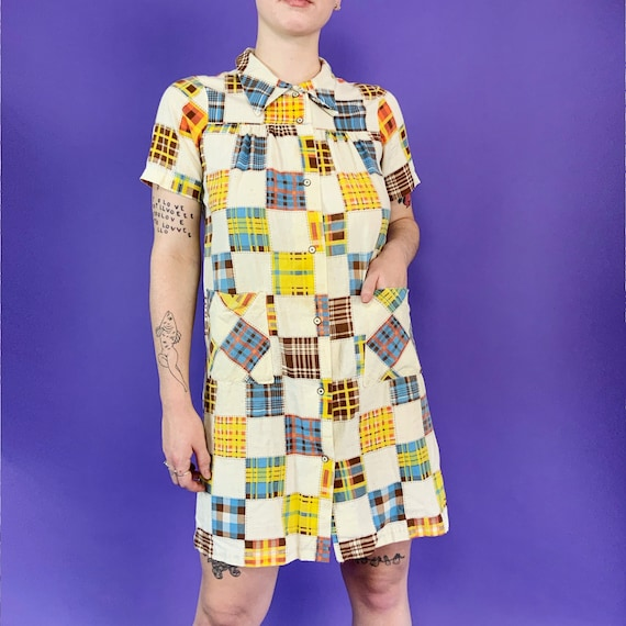 60's Vintage Patchwork Print House Dress Snap Fro… - image 9