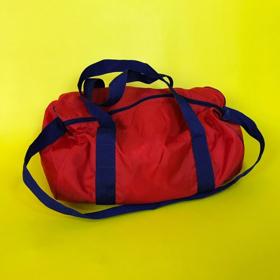 90's Red & Blue Nylon Duffel Bag - Carry All Gym Bag Basic Americana Travel Overnight Bag - Lightweight Summer Carry On Mini Duffel
