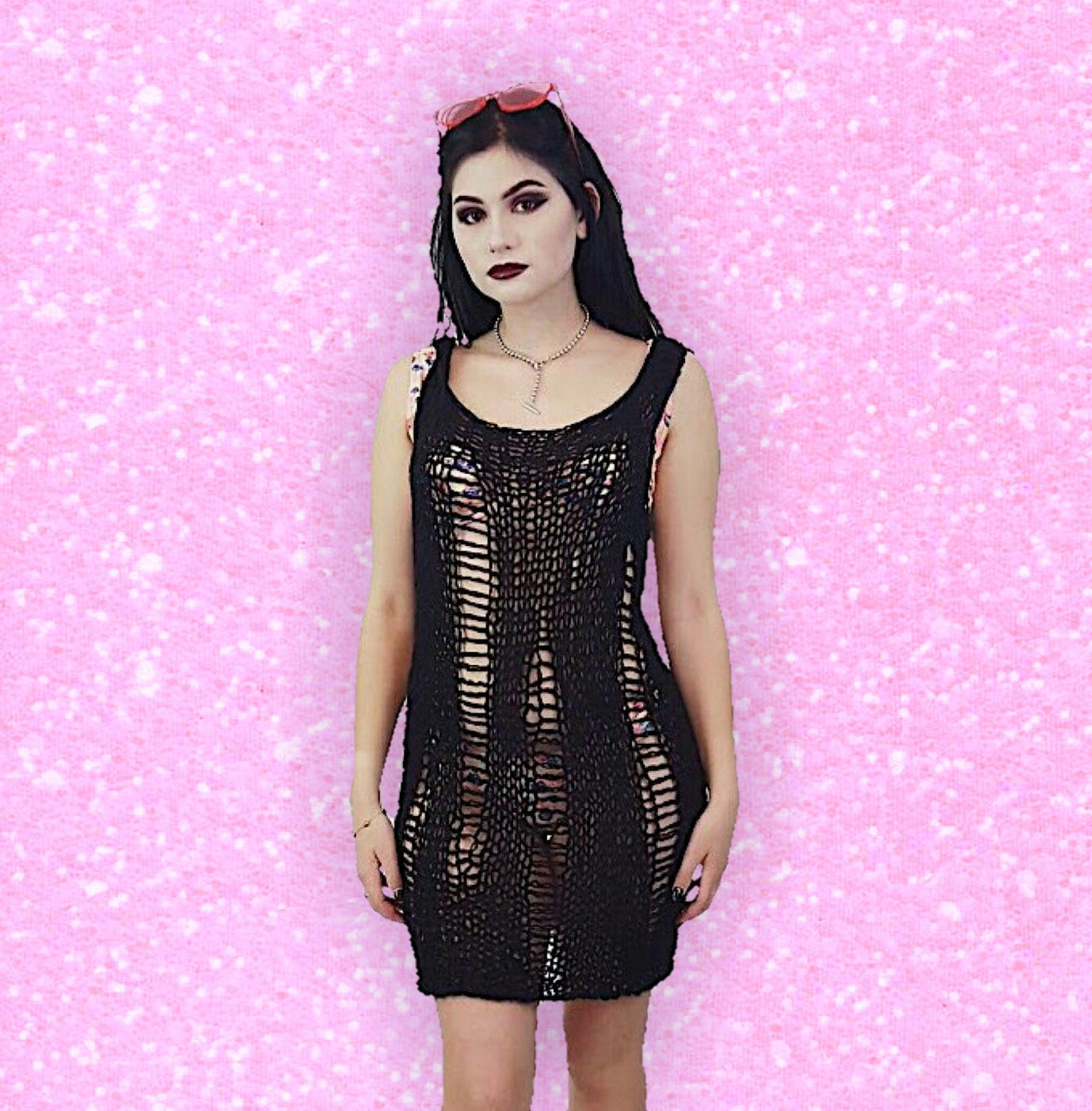 a648f3df7909b HANDMADE 90s Style Sheer Knit Tank Dress Womens Small Black