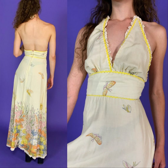 70's Butterfly Halter Maxi Dress XS US2 - Retro True Vintage Feminine Boho A-line Spring DayDress - Seventies Brick Brack Trim Fairy Dress
