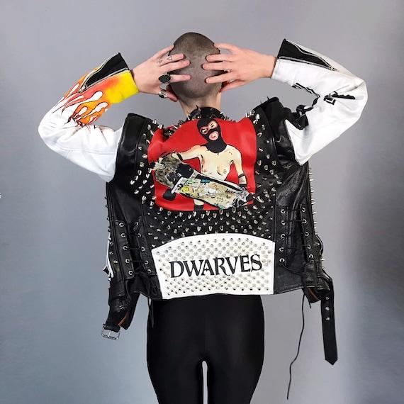 Spiked Studded The Dwarves Hand Painted Custom PUNK Moto/Biker Jacket Small - Black White Red Turbonegro Flames Graffiti Bondage Skater Punk