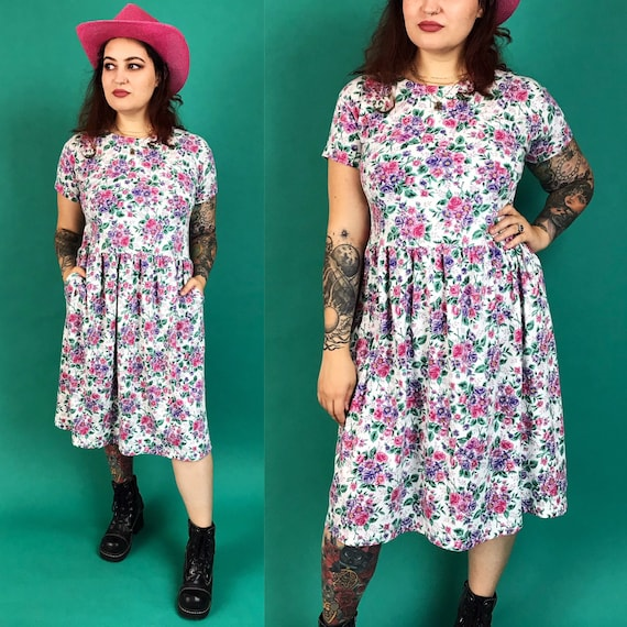 90's Casual Floral Cotton Midi Dress Medium - Girly Everyday Short Sleeve Loose Dress w/ Pockets - Pink 1990s Preppy Girly Soft Day Dress
