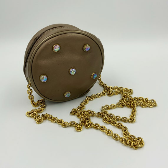 80's Rhinestone Chain Strap Glam Mini Purse - Vintage Small Round Gold Bronze Going Out Shoulder Bag - Long Chain Strap Bedazzled Zipper Bag