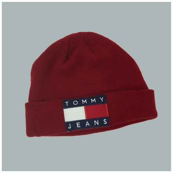 Tommy Hilfiger Logo Beanie Red Winter Hat - Unisex Tommy Jeans Patch Toboggan/Beanie Hat - Upcycled VTG Patched Hat Grunge 90's Accessory