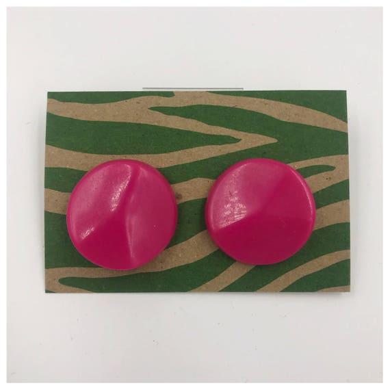 80's Plastic Statement Earrings - Large Circle Hot Pink Round Stud Earrings Costume Jewelry - Girly Vtg Funky Geometric Retro Neon Earrings
