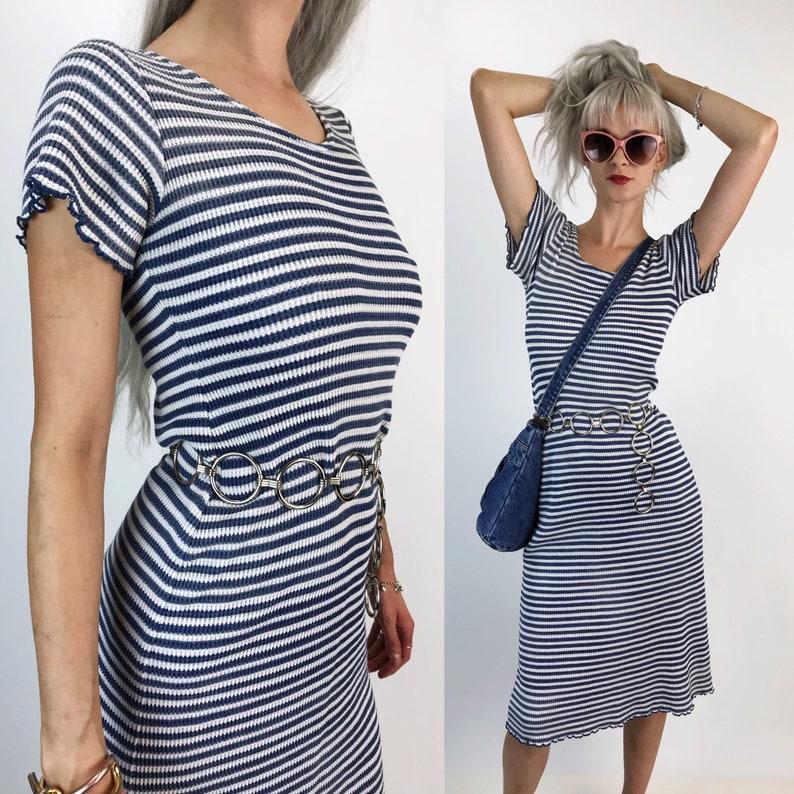 9a056da0579d 90's Striped Ribbed Stretchy Midi Dress S/M Blue White | Etsy