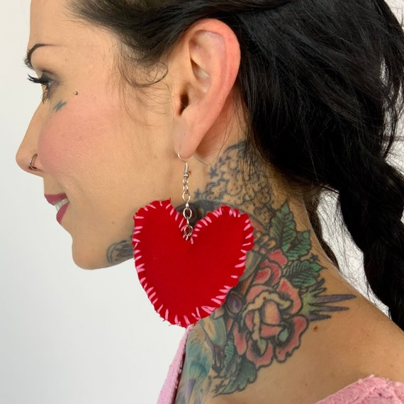 Hand Stitched Recycled Heart Plush Earrings - Handmade Statement Dangle Earrings Funky Cute DIY Costume Jewelry - Valentines Heart Jewelry