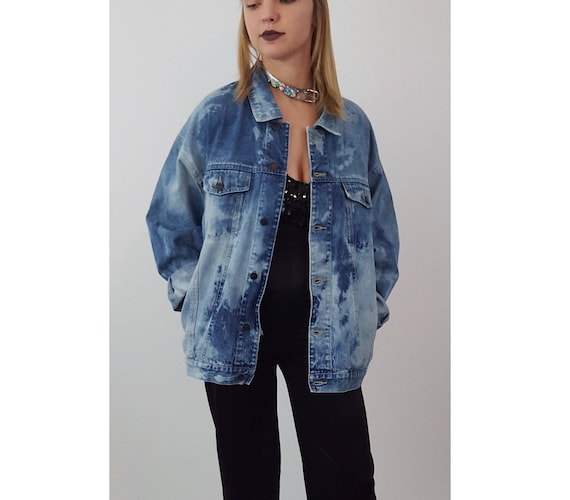 90s Vintage Hand Bleached Denim Jacket - Large Tie Dye Bleach Jean Layer - Dark Blue Tiedye Layering Jacket -Button Up Cotton Fall Jean Coat