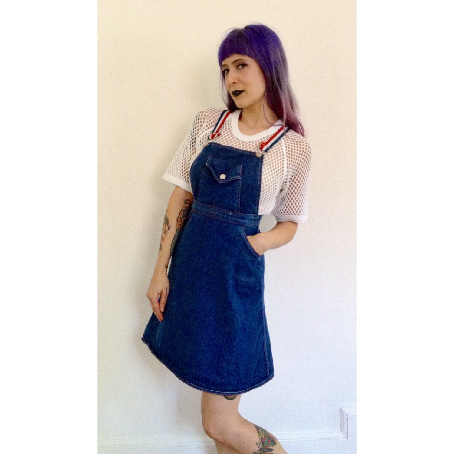 b21a48a3af SALE 70 s Denim Pinafore Dress Extra Small - XS Jean Overall Dress - Red  White Blue Jean Dress - Patriotic Vintage 1970s Jumper Mini Dress. gallery  photo ...
