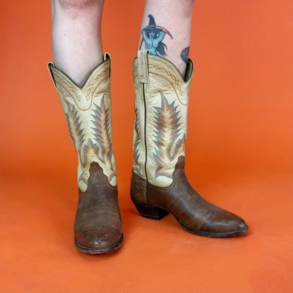 Vintage Tony Lama Leather Cowgirl Boots US 7.5 Womens - Pointed Toe Classic Leather 2-tone Brown Tan Rainbow Stitch Tall Western Cowboy Boot