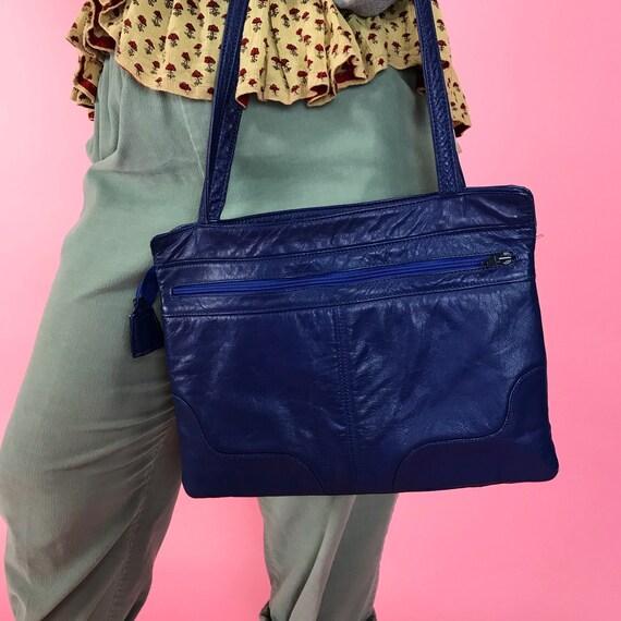 80's Blue Soft Leather Shoulder Bag - Basic Cobalt Blue Vintage Solid Color Everyday Purse - Multi Pocket Padded Purse Blue Statement Bag
