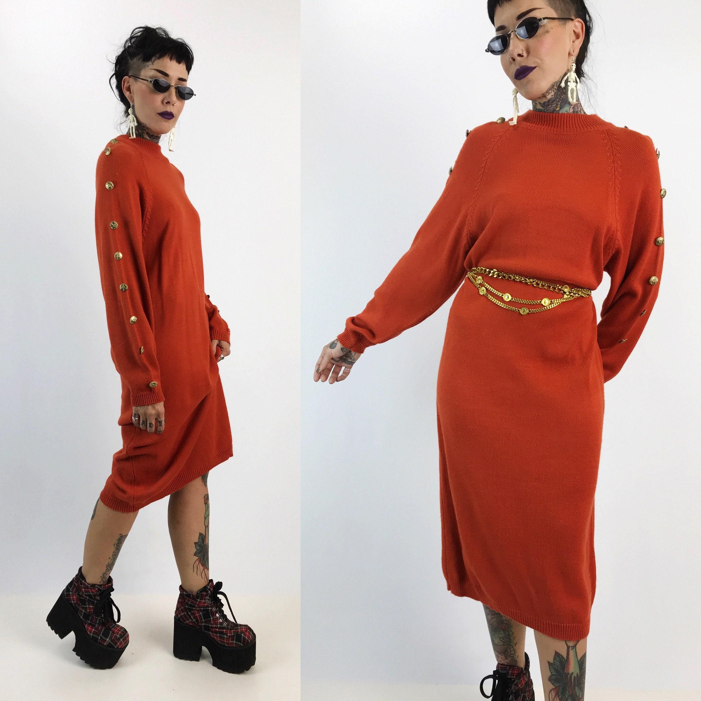 9263d556278b ... Dress Long Sleeve Rust Orange Thick Knit Long Sweater. gallery photo ...