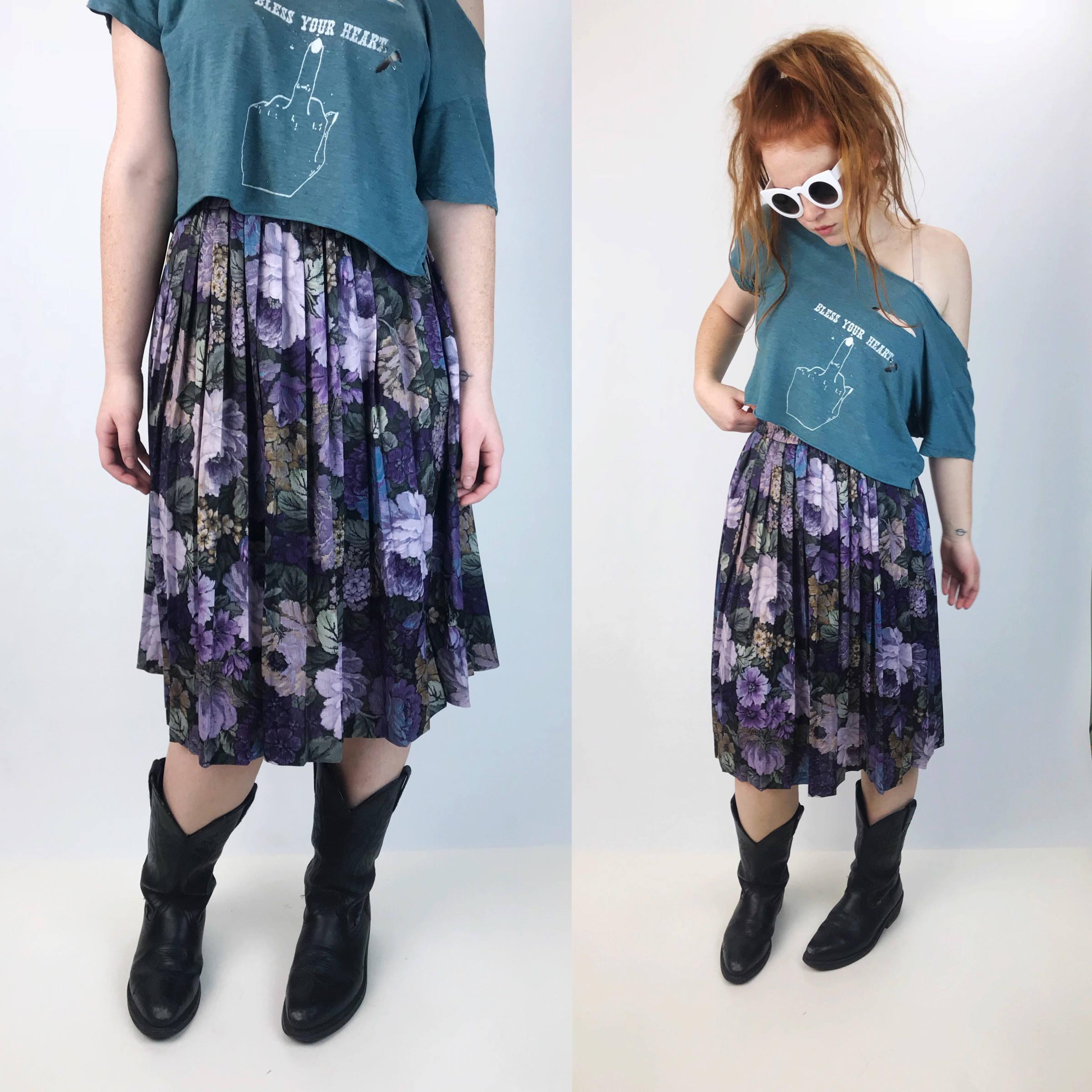 f5abd506b 80's Floral High Waist Midi Skirt Medium - Floral Purple Midi Skirt ...