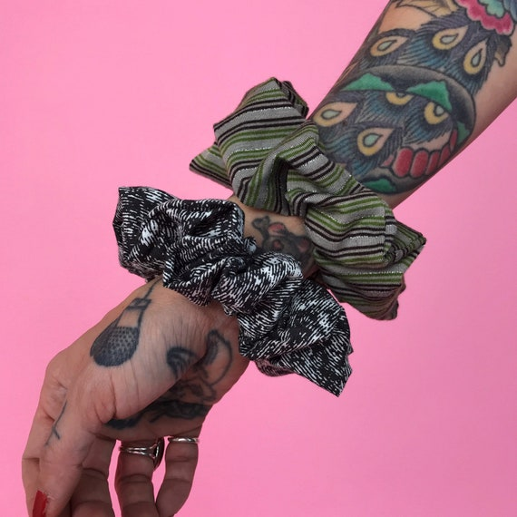 Handmade Hair Scrunchies 2 Pack - 90's Upcycled BIG Unique Scrunchies Stripes + Acid Wash Black Grunge Recycled Hair Accessory Scrunchies