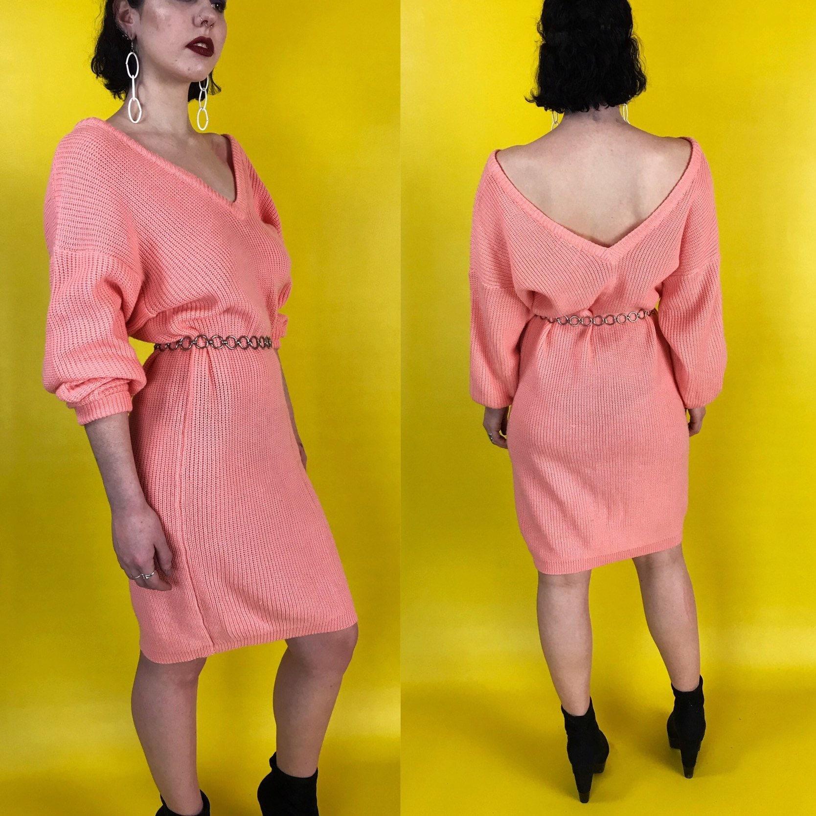 d274b5f66e5 80 s Pink Acrylic Slouchy Knit Sweater Dress Medium - Long Line ...
