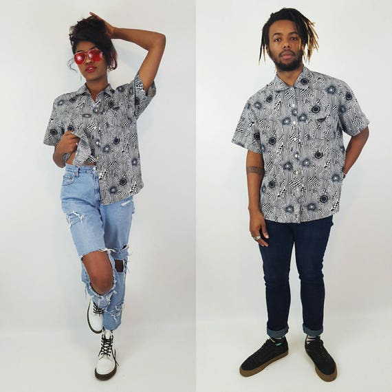 90s Vintage Polyester Button Up Shirt - 1970s Style Psychedelic Pattern Blouse - Short Sleeve Black White Collared Unisex Wavy Trippy Top