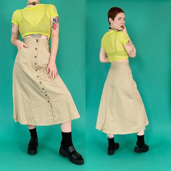 90's Button Front Khaki A-line Midi Skirt Small - High Waist Casual Long Vintage Deadstock VWT Skirt Tan Camel Brown Midi Skirt w/ Pockets
