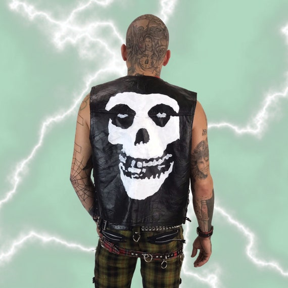 Misfits Leather Vest Large - Mens Black Hog Leather Biker Punk Vest - Band Logo Skull Black White Misfits Punk Rock Moto Vest Hand Painted