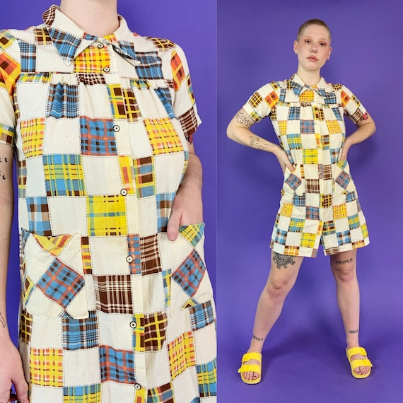 60's Vintage Patchwork Print House Dress Snap Fro… - image 2