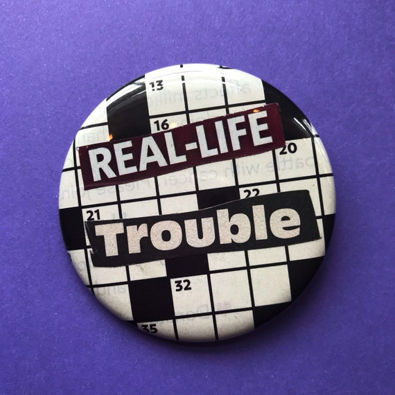 "2.25"" Collaged Handmade Pinback Button - Big Large Recycled Real-Life TROUBLE Typography Button - Weird Unique Word Search Accessory Pin"