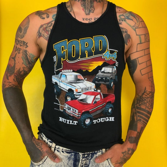 80's FORD 4x4 Pickup Truck Retro Tank Mens Medium - Black 50/50 Ford Built Tough Summer Casual Graphic Vintage Mens Soft Sleeveless Tank