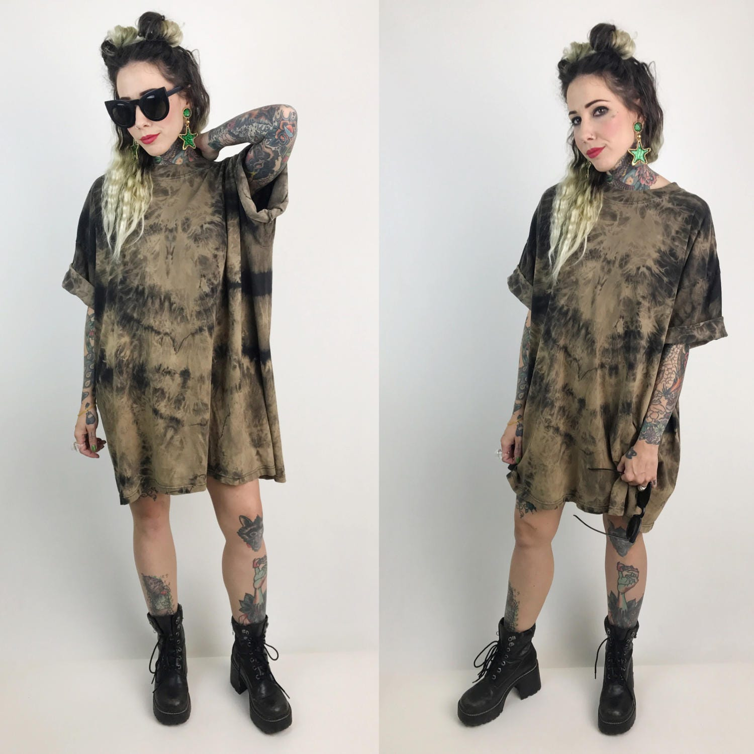 6691e3967c1 ... Plus Size UNISEX Street Style - Baggy Bleach Tie Dye Shirt Dress.  gallery photo gallery photo gallery photo gallery photo. Shipping to   Free