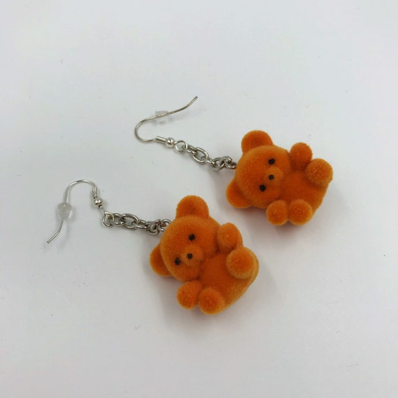 CUTE Orange Teddy Bear Upcycled Handmade Earrings - Dangly Chain Drop Statement KAWAII Costume Jewelry - One Of a Kind Dangly Funky Earrings