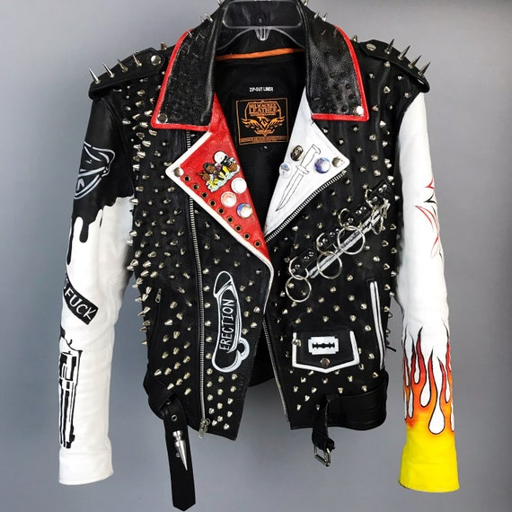 Spiked Studded The Dwarves Hand Painted Custom PUNK Moto/Biker Jacket Small - Black White Red Turbonegro Flames Graffiti Bondage Skater Punk