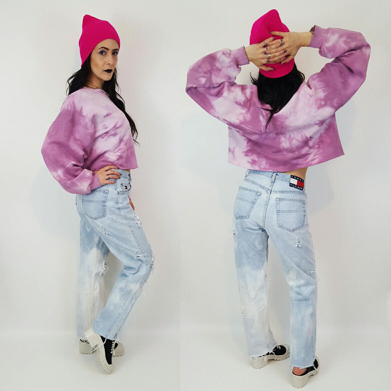 86b205281c0e7 ... Large Oversized Baggy Crop Top Sweatshirt - Logo Grunge Athletic Sweat  Shirt - Raw Hem Tie Dye Croptop. gallery photo gallery photo gallery photo  ...