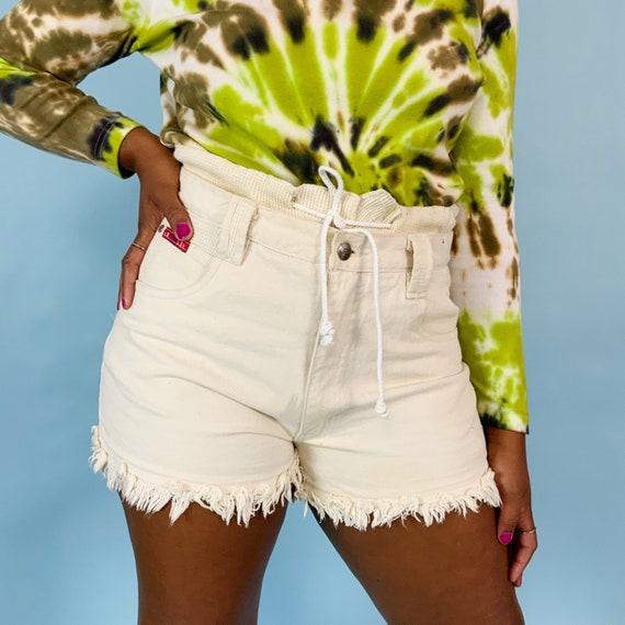 90's Rare Denim Drawstring Off-white High Waisted Frayed Shorts Size 9/10 - Paper Bag High Waist Waffle Knit Double Waistband Textured Denim