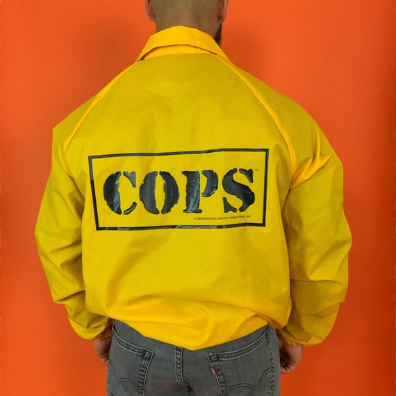 90's COPS Snap Front Employee Jacket Large Adult - Unisex Retro Yellow Windbreaker Police Crime Stoppers Logo Graphic Jacket