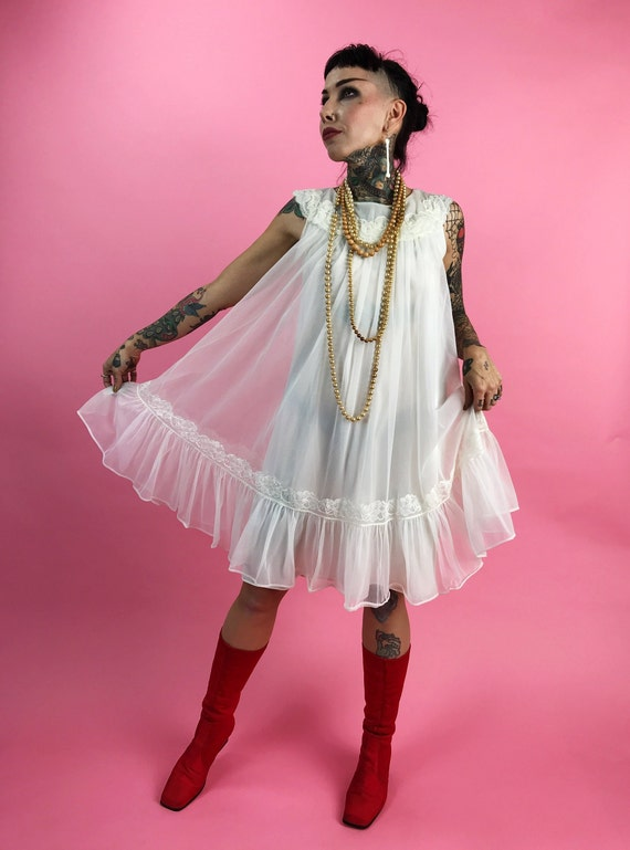 70's Whimsical Flowy Girly Lingerie Slip Dress Small - Off White See Through Angelic Ruffle Slip Dress Nightgown Petite Romantic Feminine