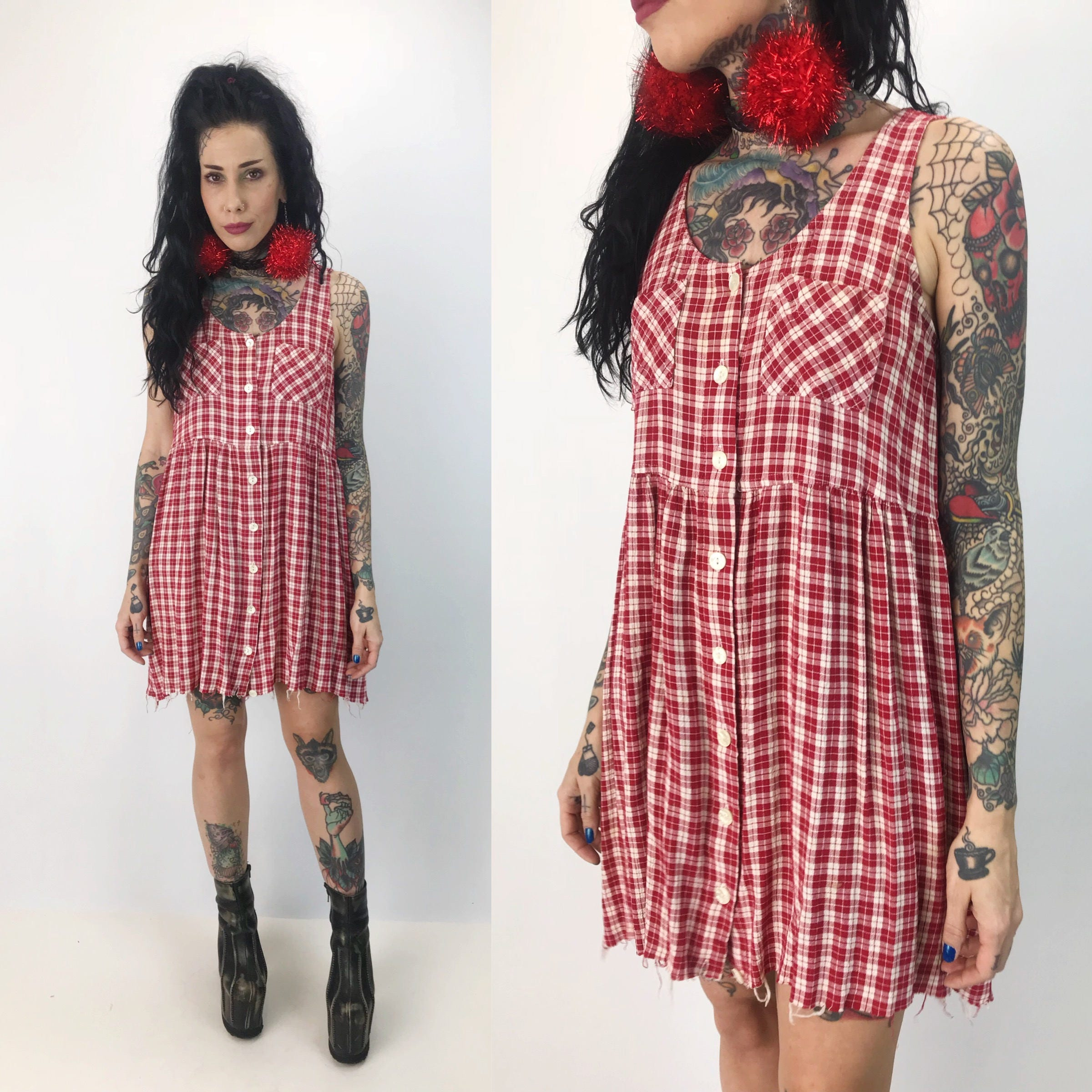 2162d62d5e9 90 s Button Front Red   White Plaid Sundress With Pockets - Small ...