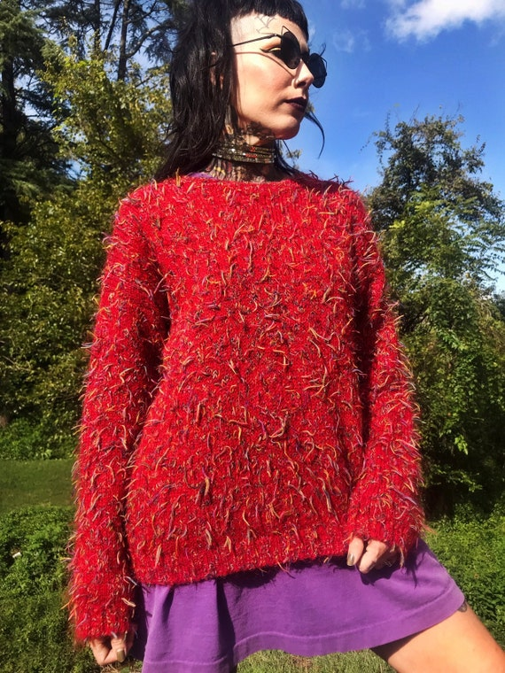 90's Rainbow Shag Red Acrylic Pullover Sweater Womens Medium - Shaggy Knit Multicolored Vintage Pullover - Cherry Red Sweater Slouchy Jumper